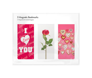 Set of 3, Magnetic bookmark,  I Love you
