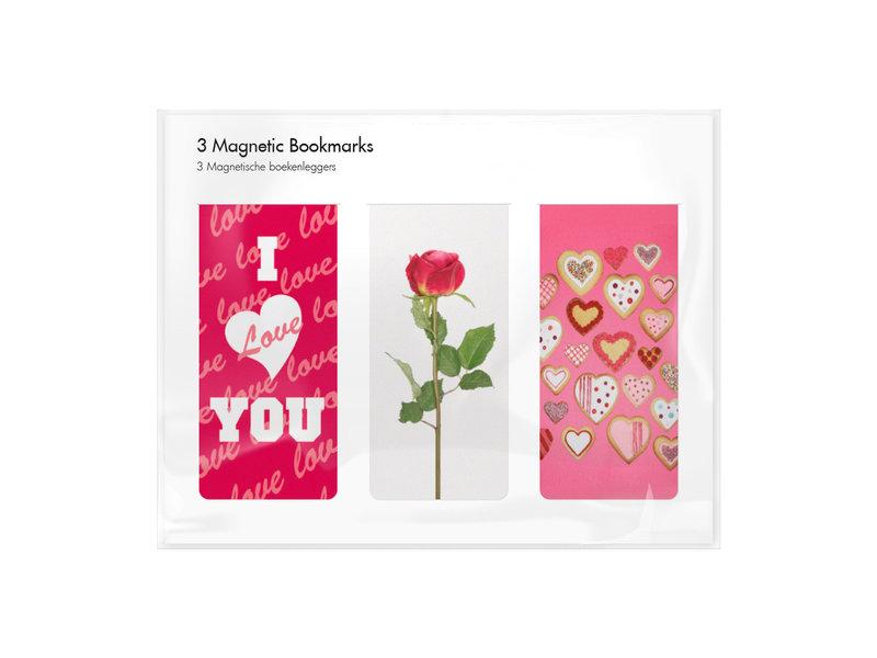 Set van 3, Magnetische boekenleggers , Valentijn