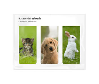 Set of 3, Magnetic bookmark, Pets