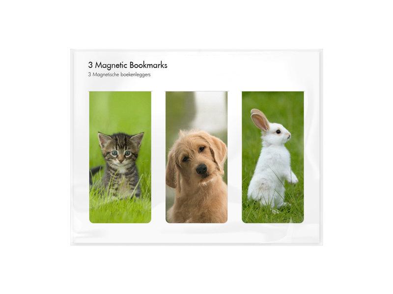 3er-Set, magnetisches Lesezeichen,  Haustiere