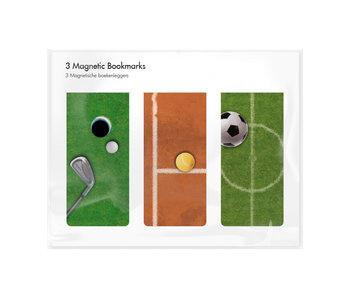 Set of 3, Magnetic bookmark,  Sport