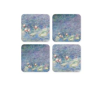 Posavasos, juego de 4, estanque con nenúfares, Monet