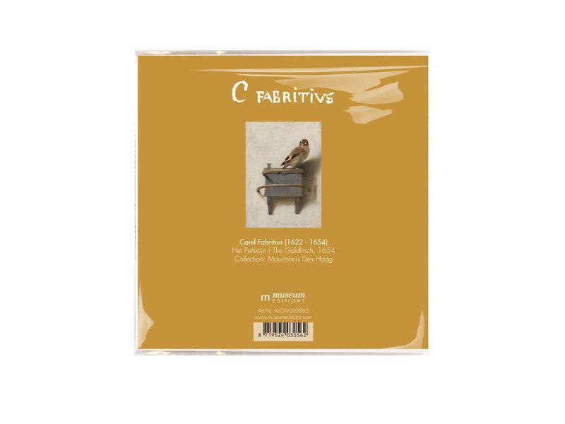 Brillentuch, 15 x 15 cm,   Der Stieglitz, Carel Fabritius
