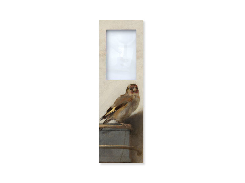 Lesezeichen mit Lupe, Carel Fabritius, Der Stieglitz
