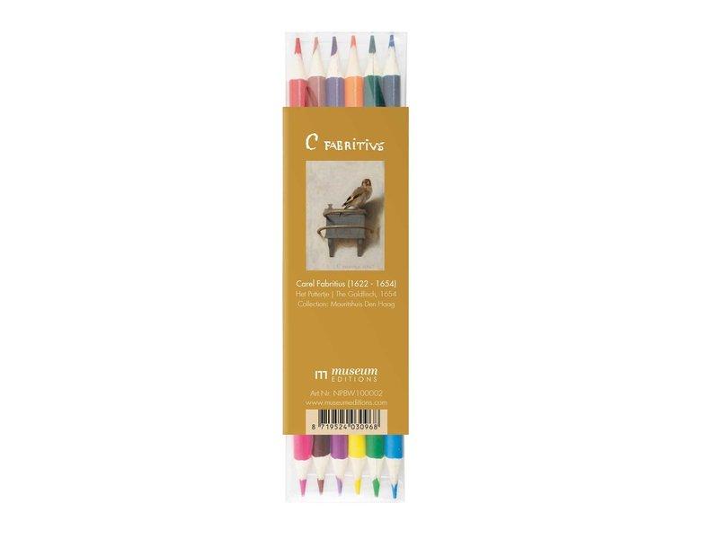 Set de lapices de colores, Carel Fabritius,  El jilguero