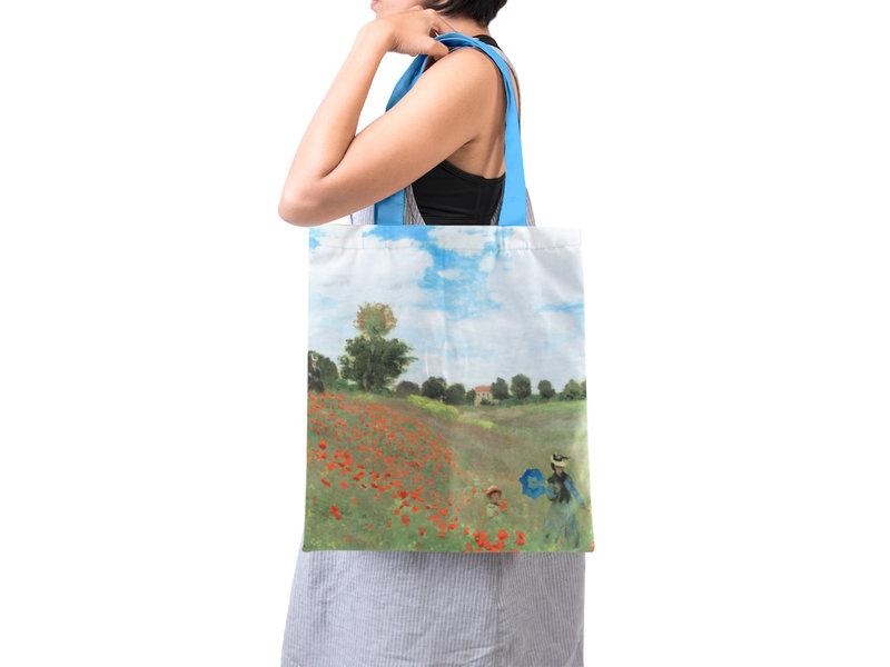 Baumwolltasche Luxe,  Monet, Feld mit Mohnblumen