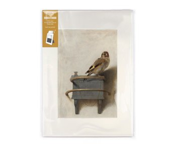 Matted print with reproduction, L,  Goldfinch, Carel Fabritius