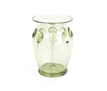 Historical glassware, wire ribs glass, 10 cm, green