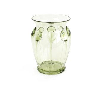 Verrerie historique, verre à nervures métalliques, 10 cm, vert