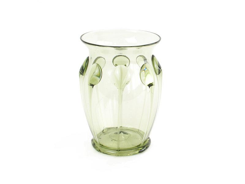 Historisch glaswerk, draadribben glas, 10 cm, groen