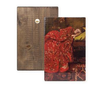 Meister auf Holz,  Breitner, Mädchen im roten Kimono