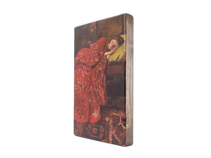 Meister auf Holz,  Breitner, Mädchen im roten Kimono,  300 x  195 mm