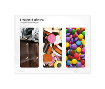 Set of 3, Magnetic bookmark,  Candy