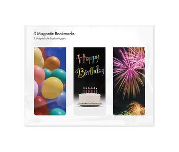 Juego de 3, marcapaginas magnético, Happy Birthday