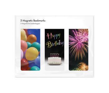 Set van 3, Magnetische boekenleggers, Happy Birthday