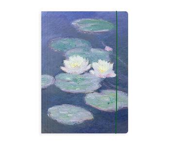 Portfolio with elastic closure, Monet, Water lilies in evening light