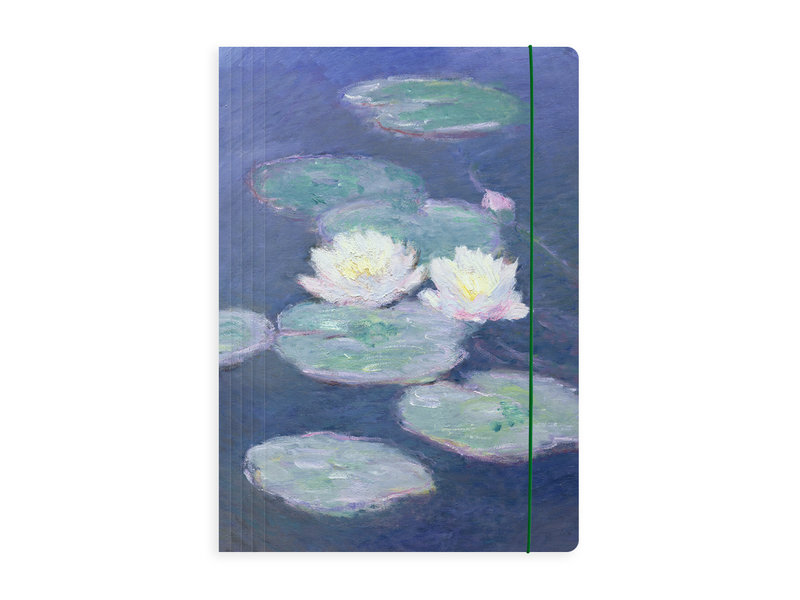 Portfolio with elas.tic closure A4 , Monet, Water lilies in evening light