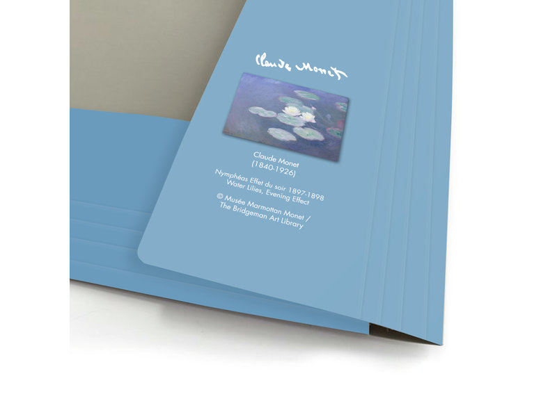 Documentenmap met elastiekje,  A4, Monet, Waterlelie in avondlicht