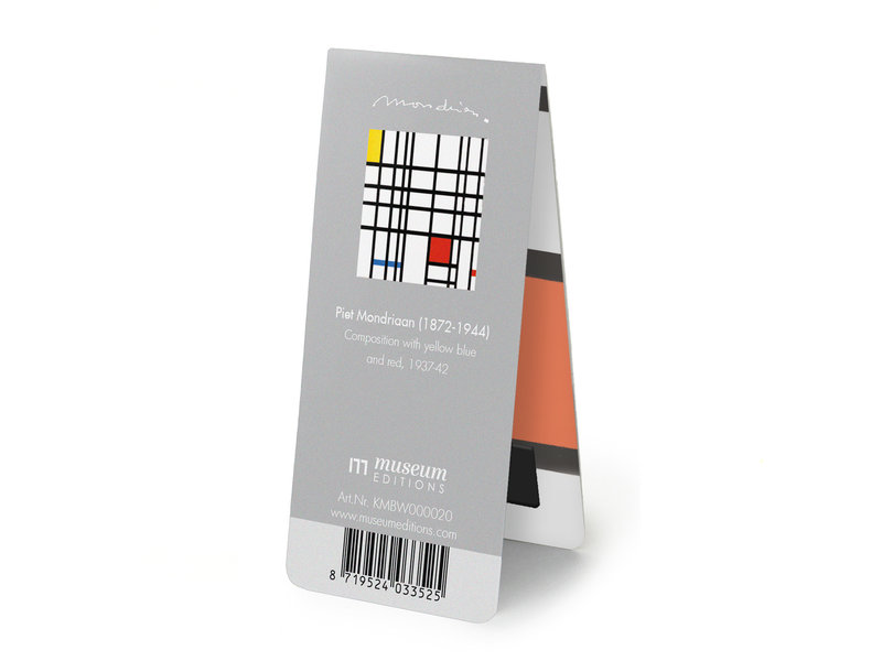 Magnetische Boekenlegger, Mondriaan,  composition with yellow-blue-and-red