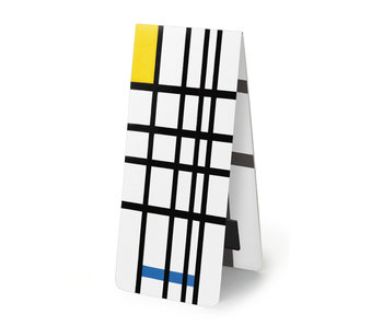 Magnetische Boekenlegger, Mondriaan,  composition with yellow-blue-and-red