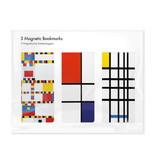Lot de 3, signets magnétiques,  Mondrian