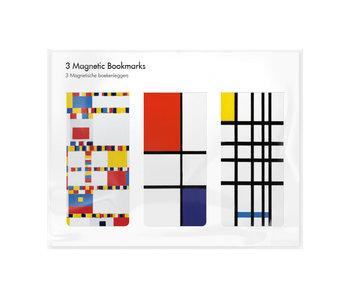 Set van 3, Magnetische boekenleggers, Mondriaan