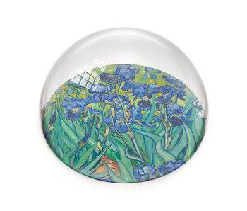 Glazen bolle  presse papier, Irissen, Vincent van Gogh