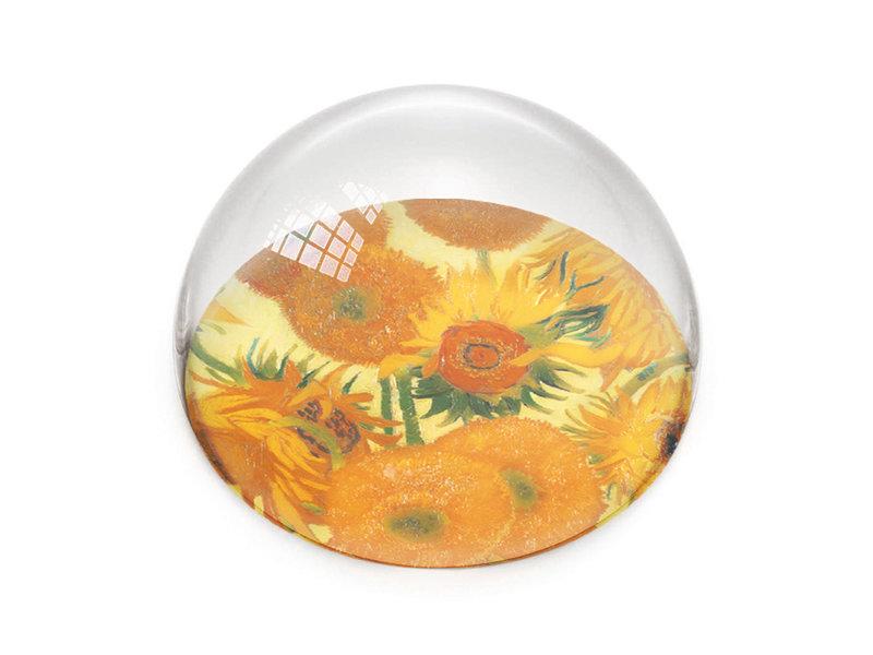 Glazen bolle  presse papier, Zonnebloemen, Vincent van Gogh