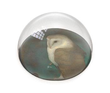 Glazen bolle  presse papier, Jan Mankes, Uil