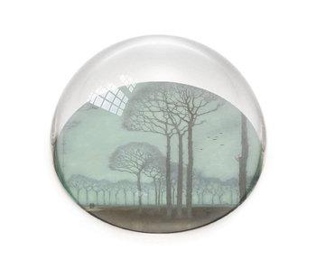 Glazen bolle  presse papier, Jan Mankes, Bomenrij