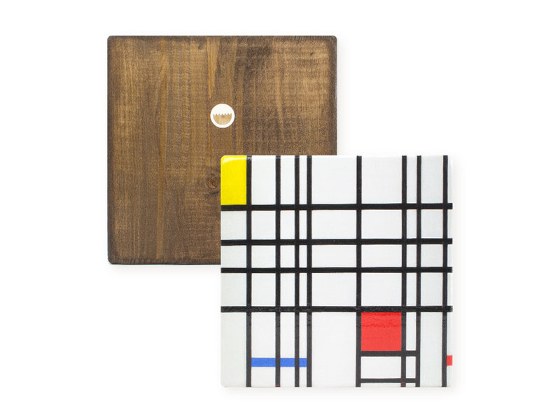 Masters-on-wood, Mondriaan,  composition with yellow-blue-and-red