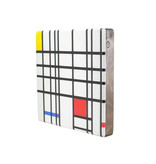 Meister auf Holz, Mondrian,  composition with yellow-blue-and-red