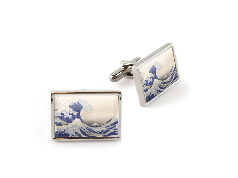 Cufflinks, , Hokusai, Great Wave