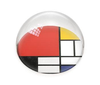 Glazen bolle  presse papier, Mondriaan, Compoitie met groot rood vlak