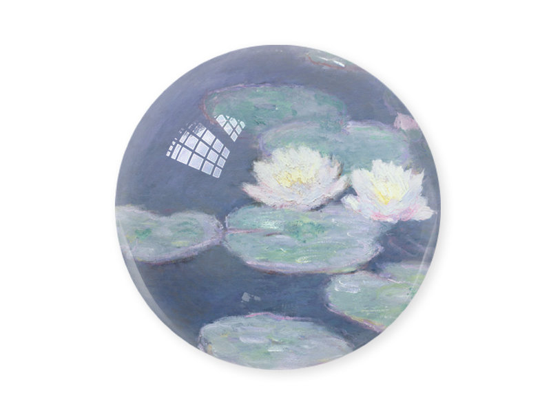 Glazen bolle  presse papier, Monet, Waterlelies Bij avondlicht