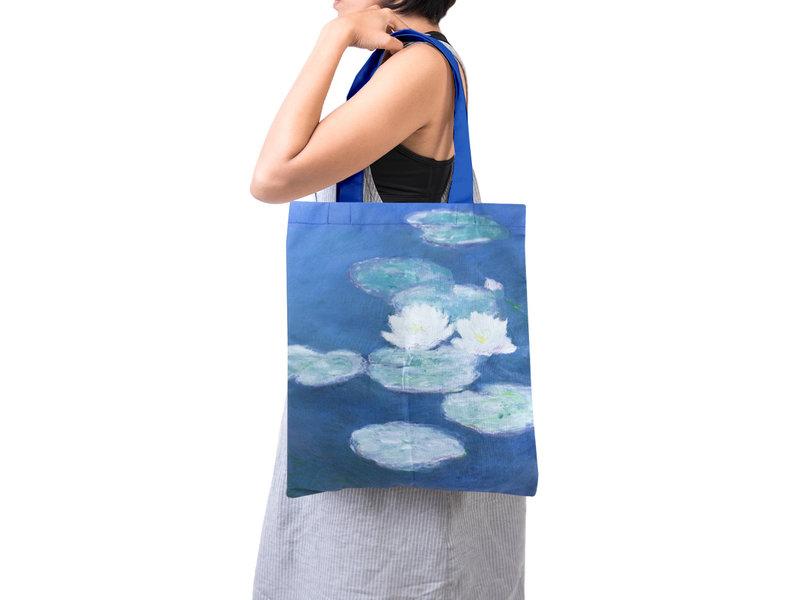 Gevoerde katoenen tas Luxe, Monet, Waterlelies in avondlicht