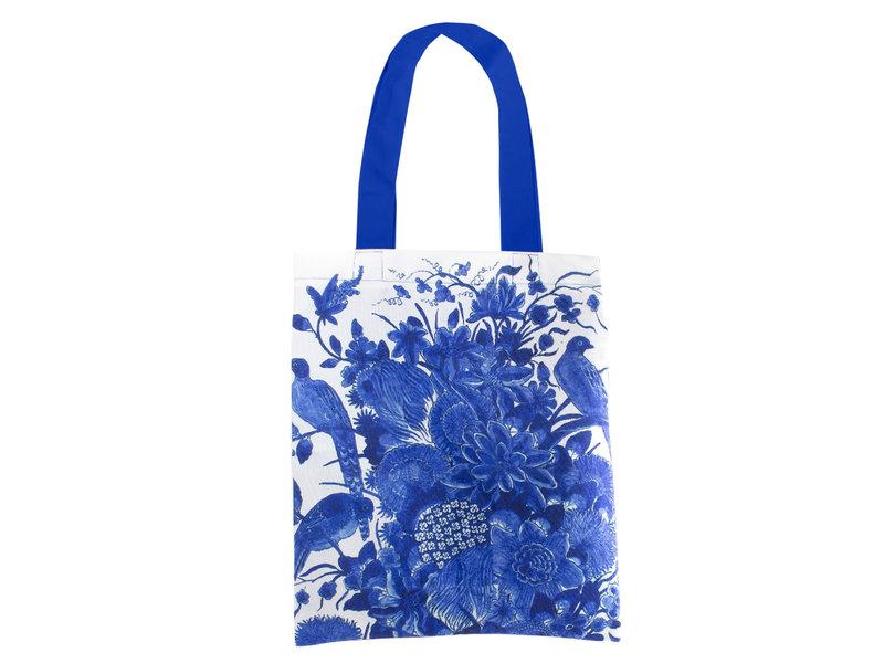 Gevoerde katoenen tas Luxe, Delfts blauwe vogels