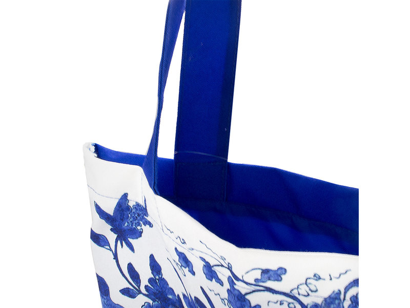 Cotton Tote Bag with lining,  Delft Blue birds