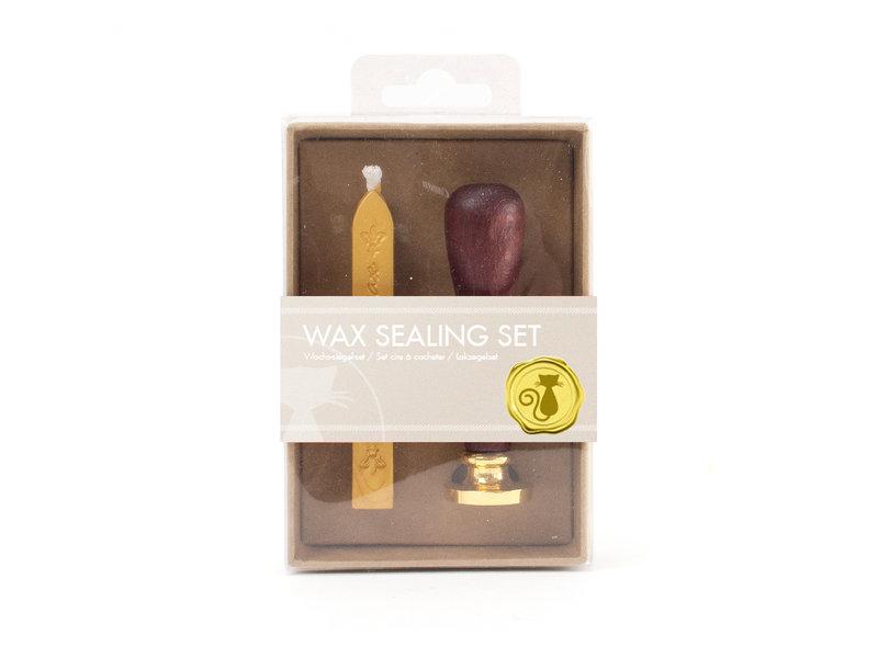 Wax sealing set, Cat stamp