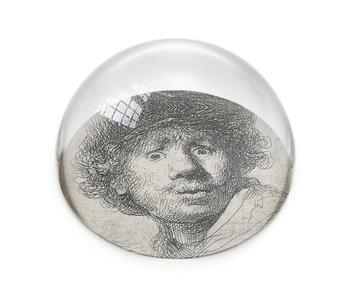 Presse-papier en verre, Rembrandt, visage curieux