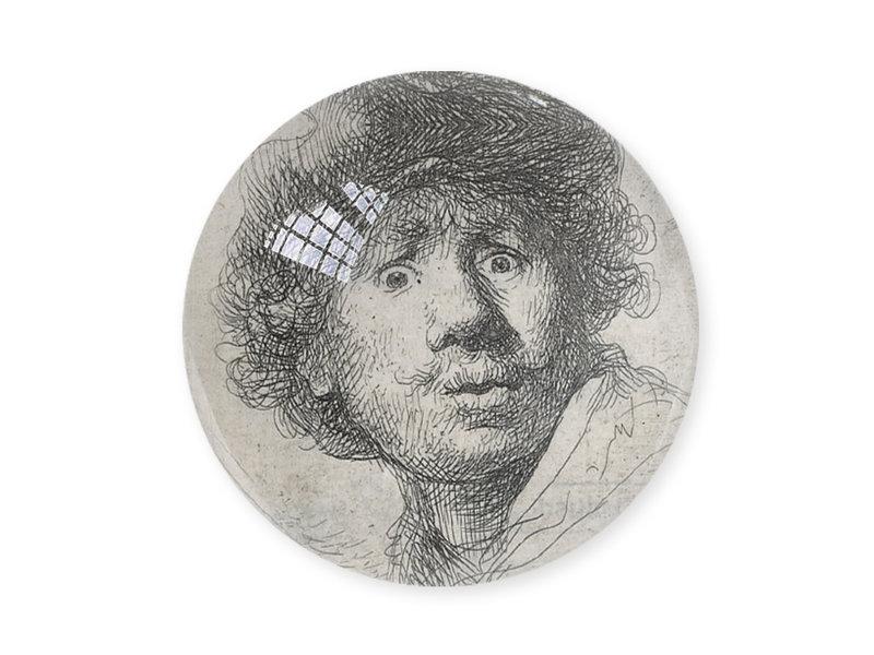 Glazen bolle  presse papier, Rembrandt, Verbaasde blik