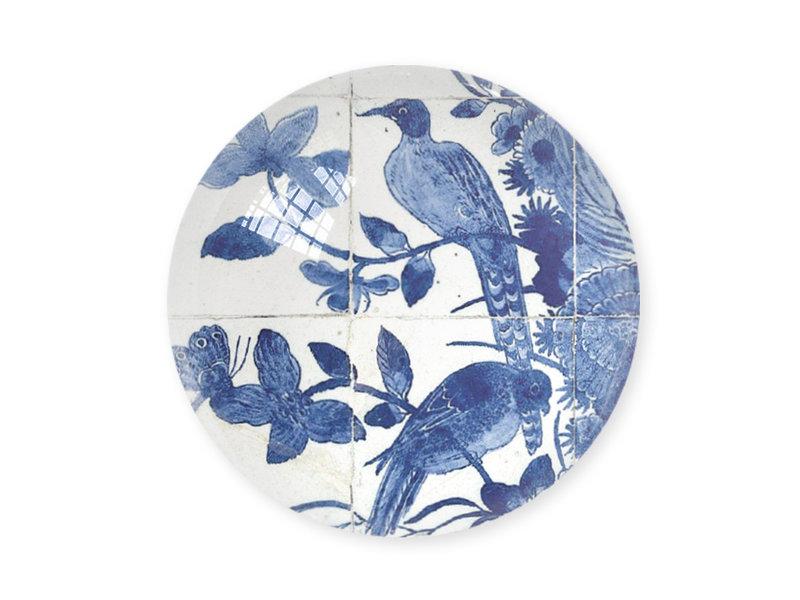Glazen bolle  presse papier, Delfts blauwe vogels, Rijksmuseum