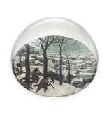 Presse-papier en verre,  Brueghel, chasseurs dans la neige