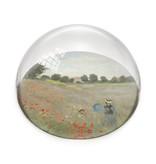 Glazen bolle  presse papier, Monet,  Veld met klaprozen