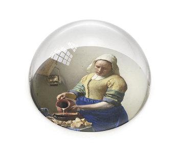 Glazen bolle  presse papier, Vermeer, Het Melkmeisje