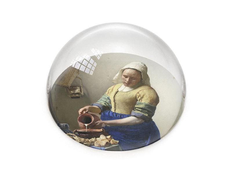 Pisapapeles de vidrio convexo, Vermeer, La lechera
