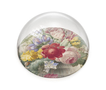 Presse-papiers convexe en verre, Nature morte aux fleurs Henstenbugh
