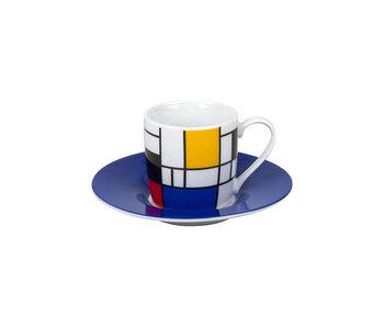 Espressotasse und Untertasse Mondrian blau