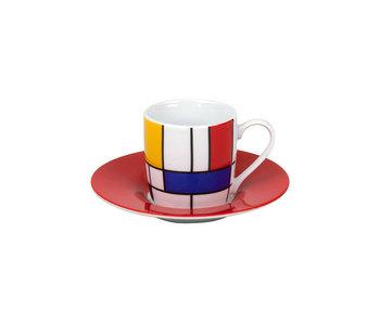 Taza espresso y platillo Mondrian rojo