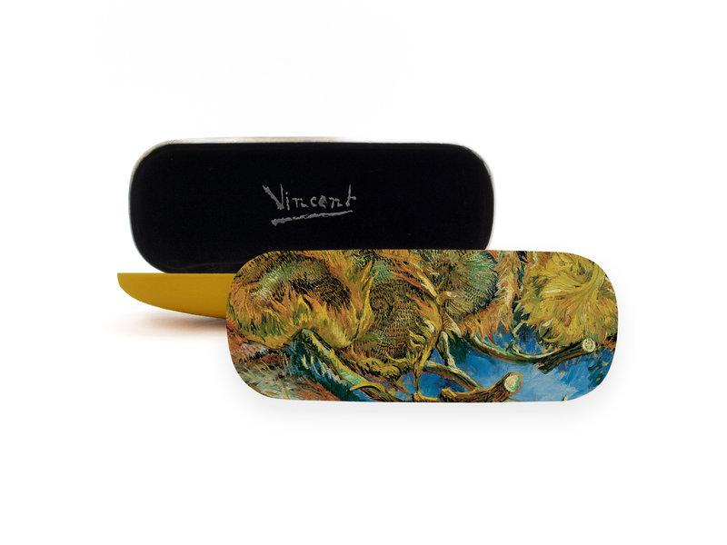 Brillendoos,  4 uitgebloeide Zonnebloemen, Van Gogh